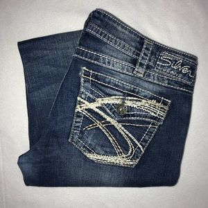 Silver Pioneer Bootcut Ripped Patched Jeans 32 30
